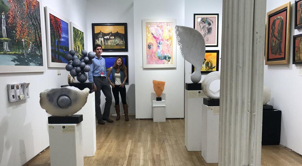 Mel Fraser's work on the Hanoi Art House stand at the New York Affordable Art Fair April 2017