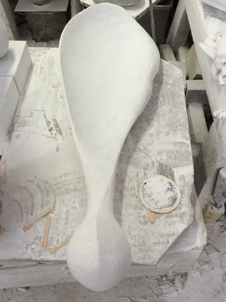 Angel Wing, Carrara marble by Mel Fraser, contemporary stone sculpture