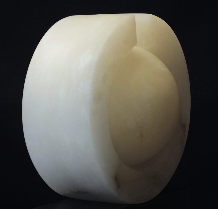 Fusion, white alabaster by Mel Fraser, contemporary stone sculpture
