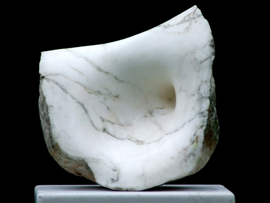 Evolution, white alabaster, by Mel Fraser, contemporary stone sculpture