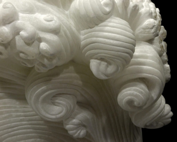 La Tempesta III, white alabaster by Mel Fraser, contemporary stone sculpture