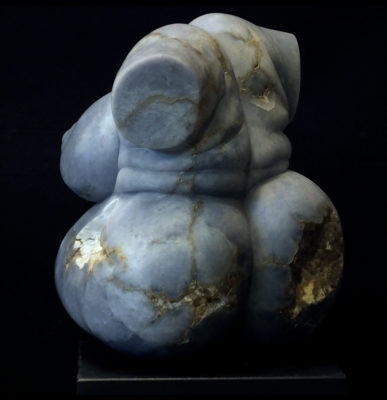 Seated Rubenesque II, blue alabaster, by Mel Fraser, contemporary stone sculpture