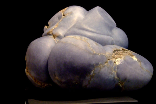 Seated Rubenesque Torso I, blue alabaster, by Mel Fraser, contemporary stone sculpture