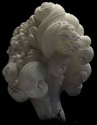 La Tempesta II, white alabaster, by Mel Fraser, contemporary stone sculpture