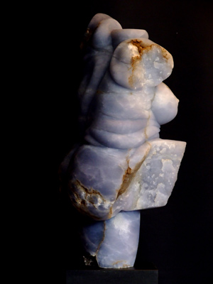 Rubenesque Torso III, blue alabaster, by Mel Fraser, contemporary stone sculpture