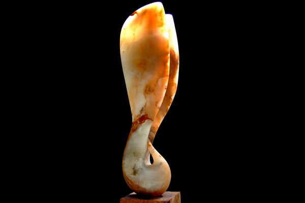 Wings of Desire II, honey alabaster, by Mel Fraser, contemporary stone sculpture