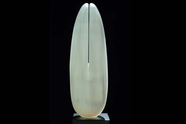 Wings of Desire, series II, white selenite, by Mel Fraser, contemporary stone sculpture