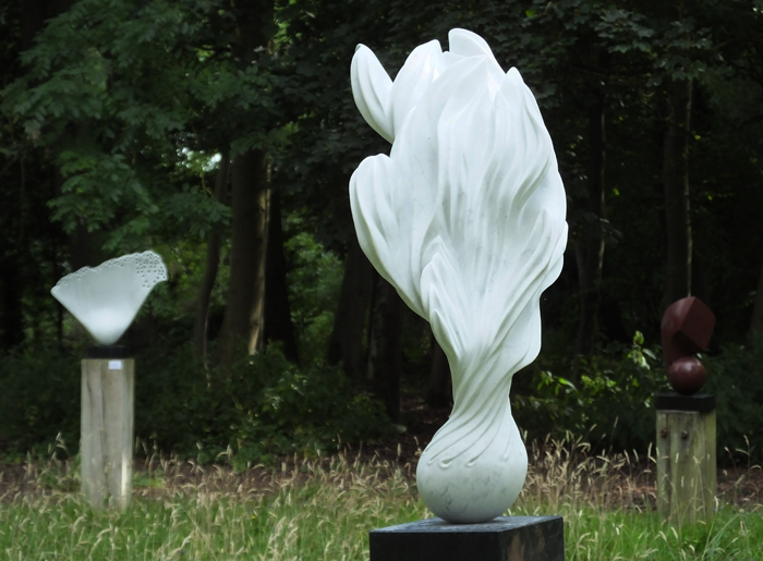 Fiamma, Carrara marble at Mel's Open Studio, by Mel Fraser, contemporary stone sculpture