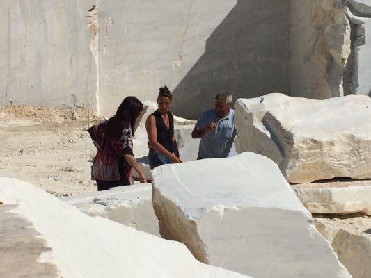 Mel, Signore Barattini and Antonella up at Cave Michelangelo quarry, Carrara