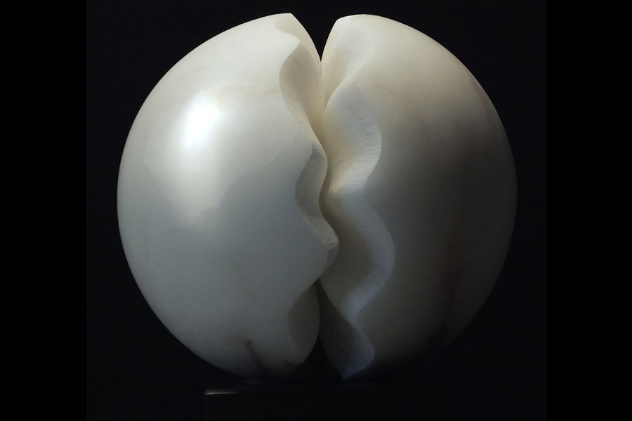 Fracture II, white alabaster by Mel Fraser, contemporary stone sculpture