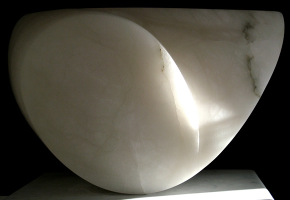 Outer Form, white alabaster, by Mel Fraser, contemporary stone sculpture