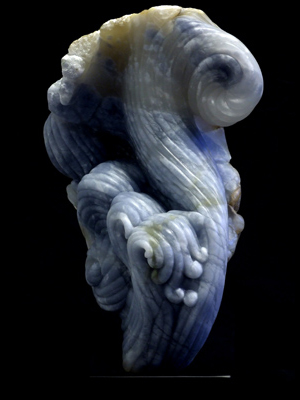 La Tempesta III, blue alabaster, by Mel Fraser, contemporary stone sculpture
