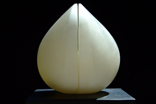 Wings of Desire, series II, white alabaster, by Mel Fraser, contemporary stone sculpture