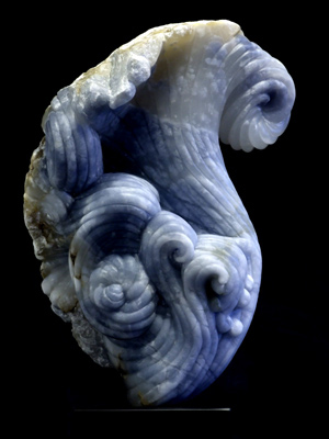 La Tempesta-iii-3, blue alabaster, by Mel Fraser, contemporary stone sculpture