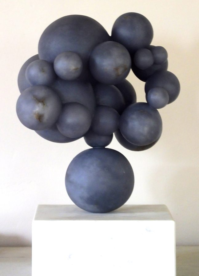 Bambino Bolle Blu, blue alabaster by Mel Fraser, contemporary stone sculpture
