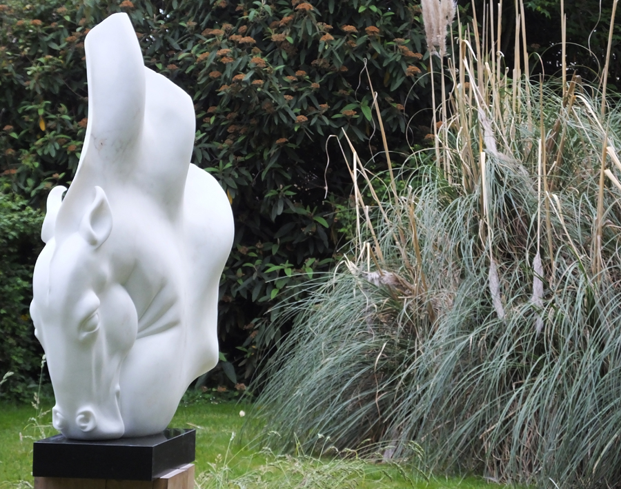 Boreas at Beaulieu 2019, statuary marble from Carrara, by Mel Fraser, contemporary stone sculpture