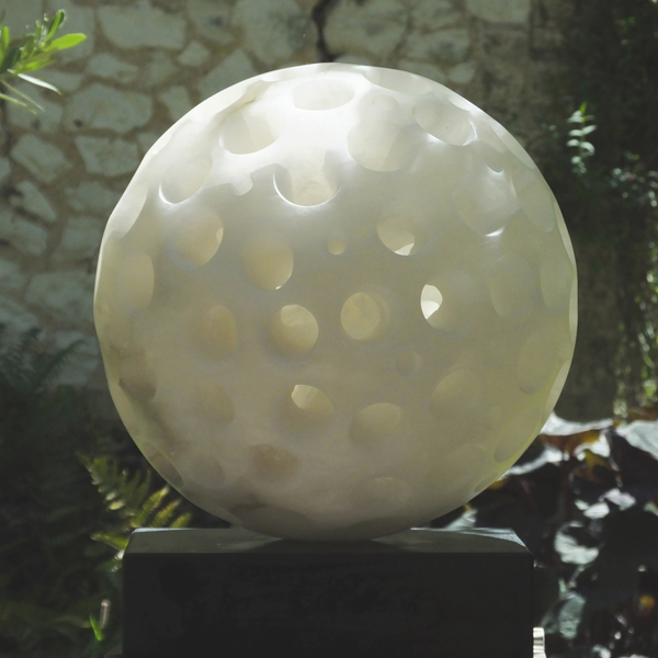 Genesis I, alabaster, by Mel Fraser, contemporary stone sculpture, on form 20